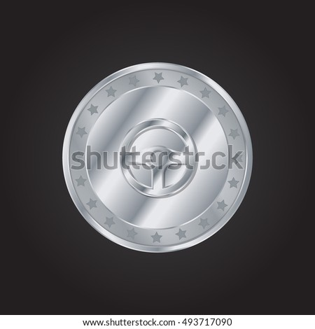 Steering Wheel embossed realistic silver / platinum coin precious Icon / Logo Design