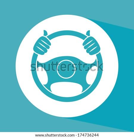 steering wheel over background vector illustration - stock vector
