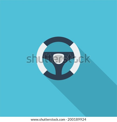 Steering wheel symbol. Vector illustration of flat color icon with long shadow.   - stock vector