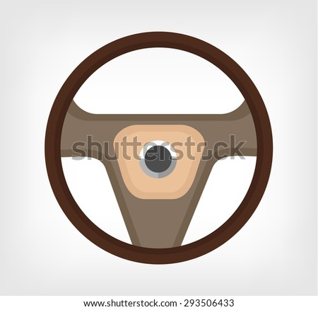 Steering wheel. Vector flat illustration