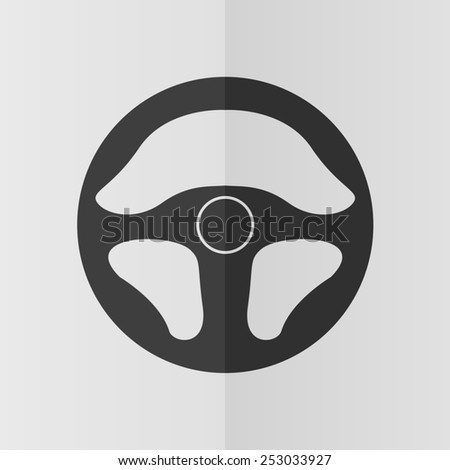 Steering wheel vector icon. Effect of folded paper. Flat design