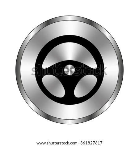 steering wheel - vector icon;  metal button