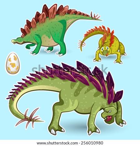 Stegosaurus Dinosaurs Sticker Collection Set - stock vector