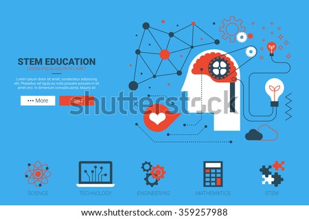 STEM- science, technology, engineering and mathematics website concept with icon in flat design - stock vector