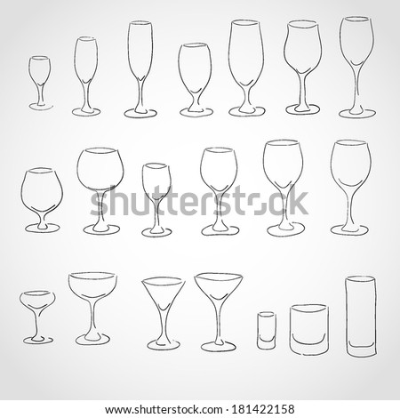 Stemware icon's set Isolated on White Background - stock vector