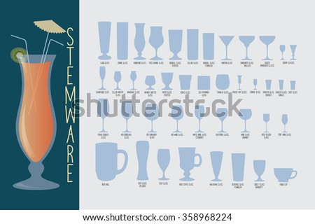 Stemware, set of glasses types: cocktail, whiskey, wine, beer and hurricane with umbrella. bartender guide vector - stock vector