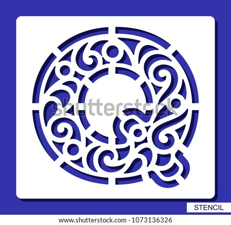 Stencil alphabet lacy letter q template stock vector 1073136326 lacy letter q template for laser cutting wood carving spiritdancerdesigns Choice Image
