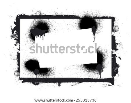 stencil and grunge inky frame - stock vector