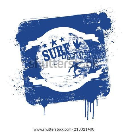 stencil and vintage surf shield - stock vector