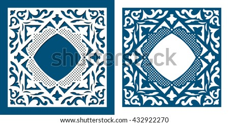Stencil frame. Square die cut card template. Vector ornamental cutout pattern for laser cutting. Filigree cutout frame. Wood carving for photo frame.  Laser cutting vector design.   - stock vector