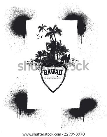 stencil frame with Hawaiian summer shield - stock vector