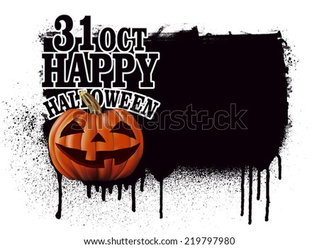 stencil happy halloween banner with pumpkin - stock vector