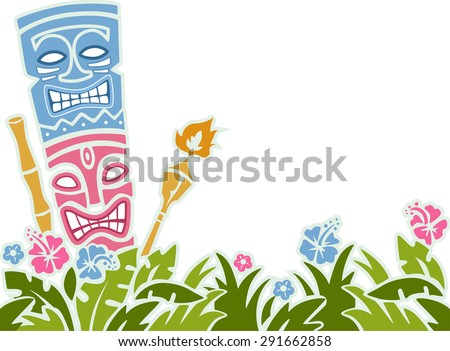Stencil Illustration of a Tiki Statue Surrounded by Colorful Flowers - stock vector