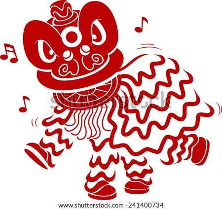 Stencil Illustration of Men in Costume Performing a Lion Dance