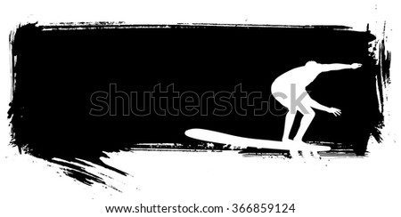 stencil inky surf banner with surfer - stock vector