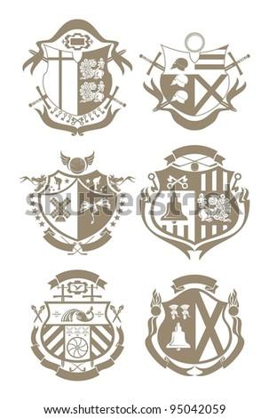 Stencil knightly arms, vector - stock vector