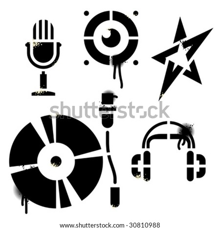 "Stencil music icons. Contains no traced images. All elements are drawn by hand. ""True stencil"" shapes, drops, splats and blends are in separate layers. Editable vector Illustration. - stock vector"
