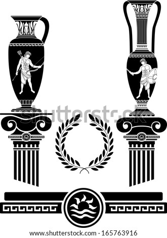 stencil of ancient columns and jugs. vector illustration