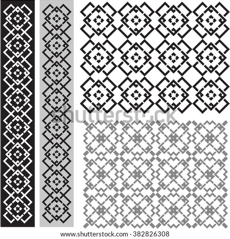 Stencil seamless patterns and design elements - stock vector