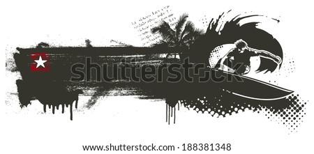 stencil surf banner - stock vector