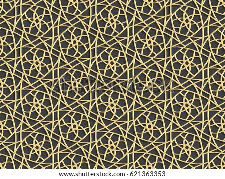 Stencil template of gold Arabesque laser paper cut in Arabic seamless pattern for Ramadan Kareem or Islamic festival.Lace vector illustration for wedding invitation and greeting card in vintage