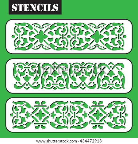 stencil vector set vintage ornate border frame filigree with retro ornament pattern in antique baroque