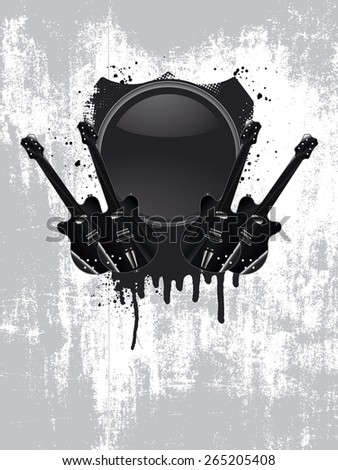 stencil vintage music shield with guitars - stock vector