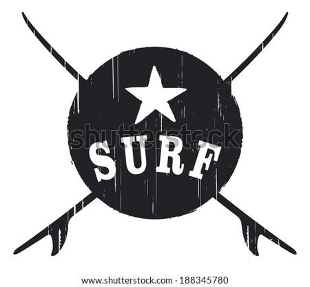 stencil vintage surf shield - stock vector