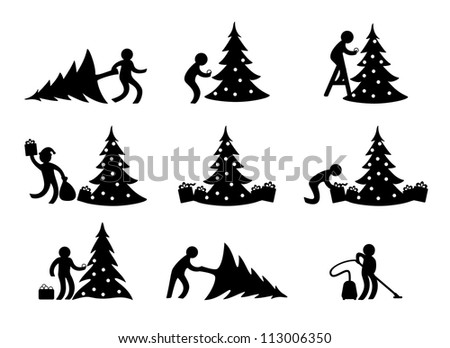Step-by-step celebration of the New Year and Christmas - stock vector