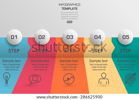 step-by-step data infographic timeline - stock vector