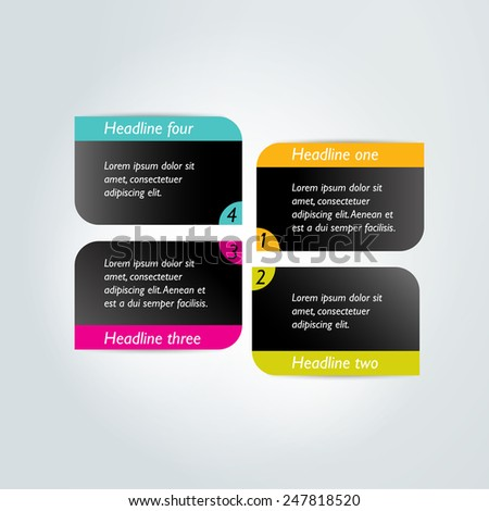 Step by step diagram. Infographic flat tab. - stock vector