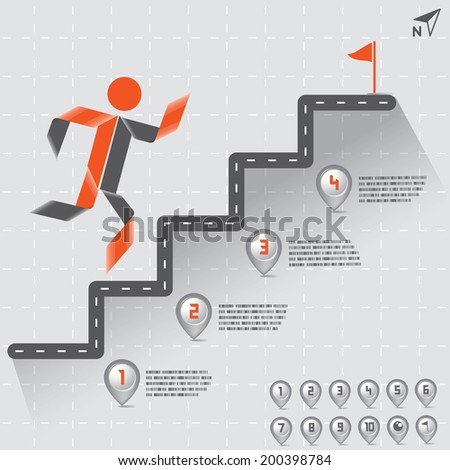 Step by Step Infographics Road with Map Pointer Numbers Set, Vector EPS10 - stock vector