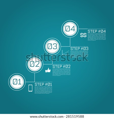 Step by Step Infographics Success Vector Design Template | EPS10 Editable Background - stock vector