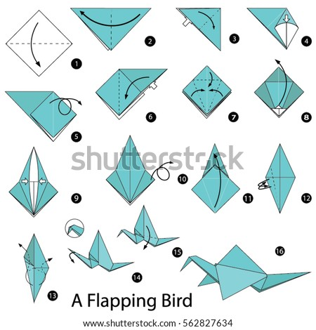 Step by step instructions how make vectores en stock for How to make origami goose