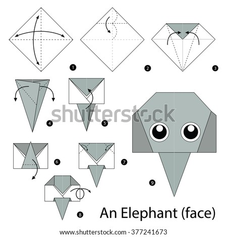 step by step instructions how to make origami A Elephant.