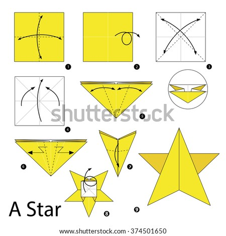 Origami instructions stock images royalty free images for How to make a star with paper step by step