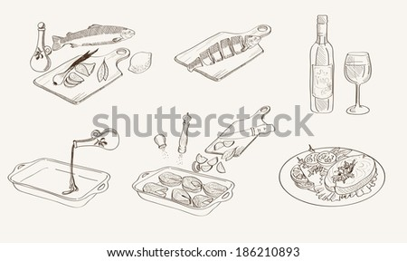step by step process of cooking fish. Vector sketches