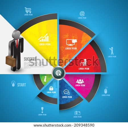 Step circle icons with business man, Can use for business concept and presentation, Education business diagram, For printing, web and workflow layout.