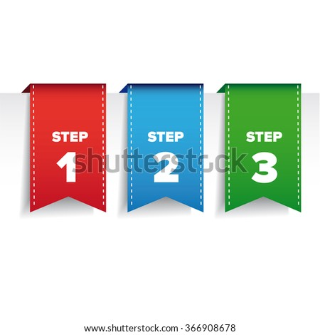 Step one two three bookmark ribbon -  progress vector