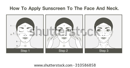 Step to apply sunscreen to face and neck in monotone color design for use to design packaging, label, illustration or other job - stock vector