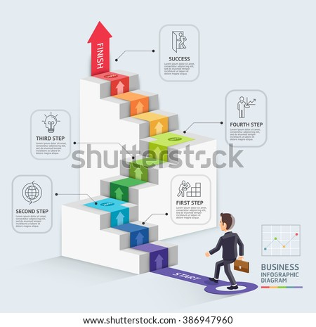 Steps to starting a business template. Businessman walking up an arrow. Vector illustration. Can be used for workflow layout, diagram, number options, web design, infographics and timeline. - stock vector