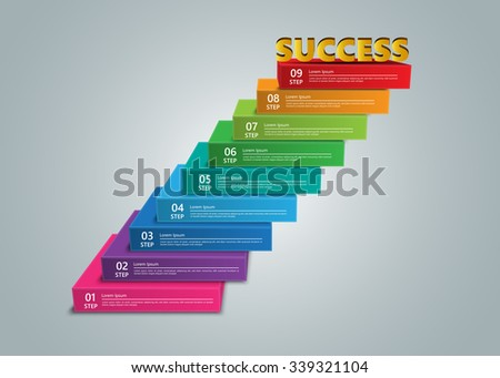 Steps to Success, Colored Rectangular Prism 3D with Success Text,  Number and Text Information, 9 Options, Vector Illustration. - stock vector