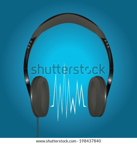 Stereo headphones with sound wave on a blue background.