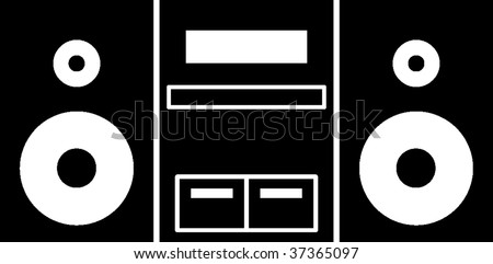 stereo music player symbol - stock vector