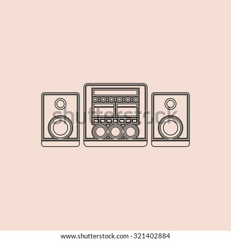 Stereo system. Outline vector icon. Simple flat pictogram on pink background