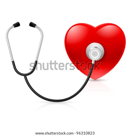 Stethoscope and heart. Illustration on white background