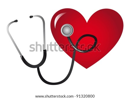 stethoscope and heart isolated over white background. vector illustration - stock vector