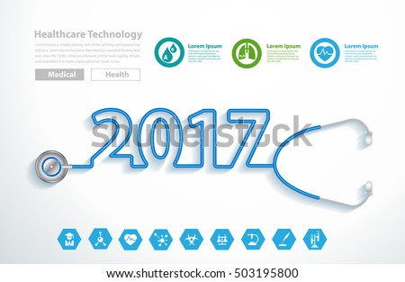 Stethoscope heart creative design ideas concept, Happy new year 2017 calendar cover, typographic vector illustration.