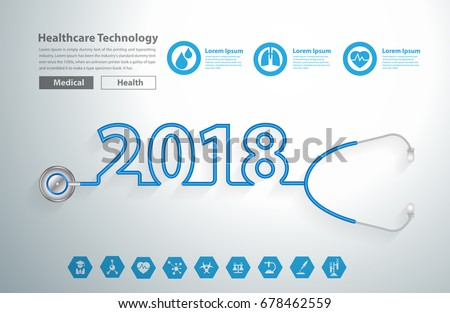 Stethoscope Heart Creative Design Ideas Concept Happy New Year 2018 Calendar Cover Typographic Vector