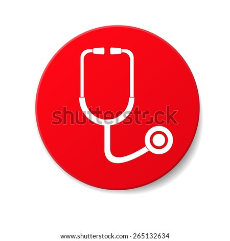 Stethoscope isolated on the white. Flat style - stock vector